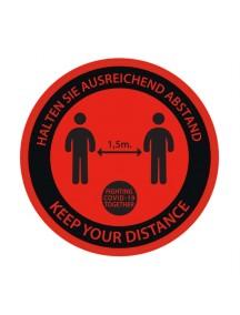 runden Sticker Covid-19 rot Durchmesser 25 cm